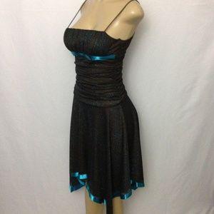 Windsor Dress S Brown Blue Glittery Skinny Strap